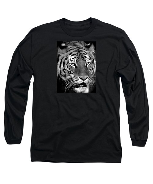 Bengal Tiger In Black And White Long Sleeve T-Shirt by Venetia Featherstone-Witty