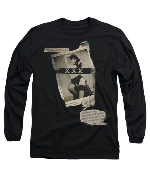 Bettie Page - Newspaper And Lace Long Sleeve T-Shirt