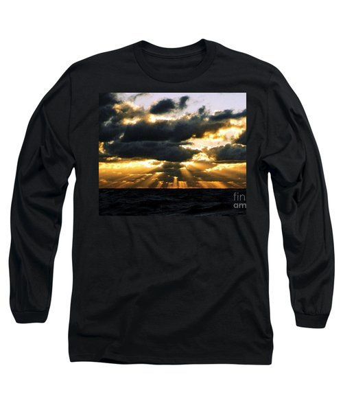 Long Sleeve T-Shirt featuring the photograph Crespuscular Biblical Rays At Dusk In The Gulf Of Mexico by Michael Hoard