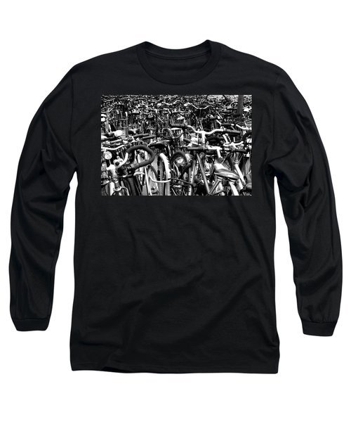 Long Sleeve T-Shirt featuring the photograph Sea Of Bicycles- Karlsruhe Germany by Joey Agbayani