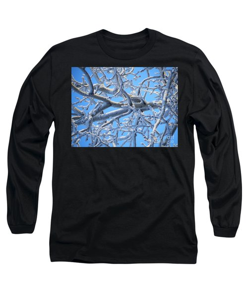Bifurcations In White And Blue Long Sleeve T-Shirt by Brian Boyle