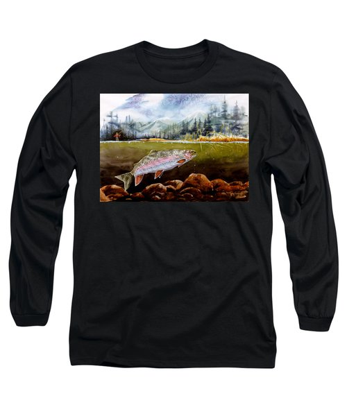 Long Sleeve T-Shirt featuring the painting Big Thompson Trout by Craig T Burgwardt