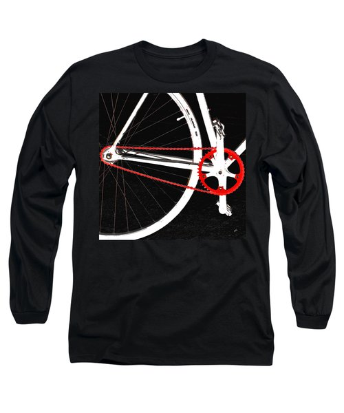 Bike In Black White And Red No 2 Long Sleeve T-Shirt by Ben and Raisa Gertsberg