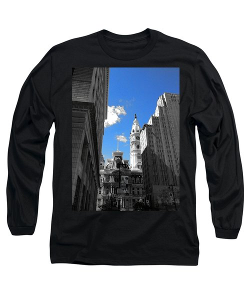 Billy Penn Blue Long Sleeve T-Shirt by Photographic Arts And Design Studio