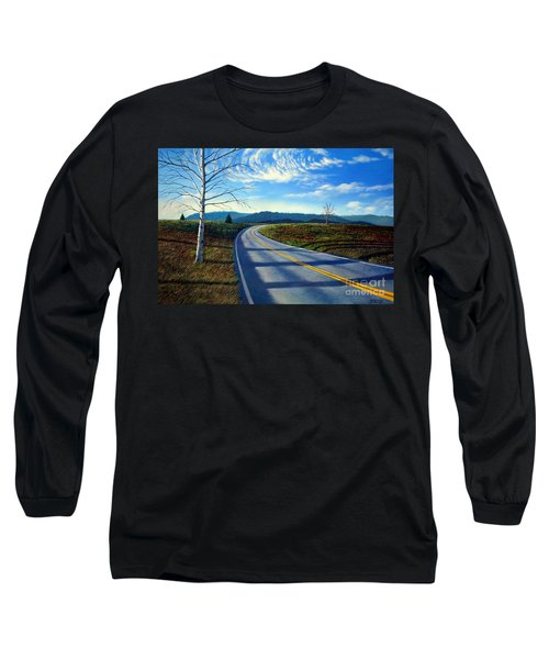 Birch Tree Along The Road Long Sleeve T-Shirt