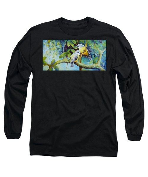 Long Sleeve T-Shirt featuring the painting Birds by Elena Oleniuc
