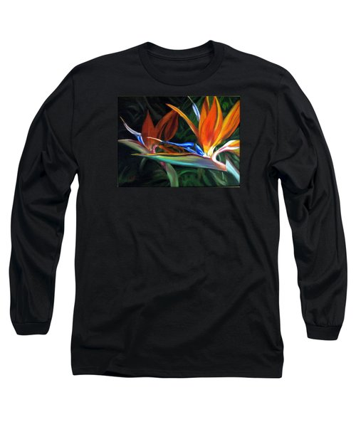 Birds Of Paradise Long Sleeve T-Shirt by LaVonne Hand