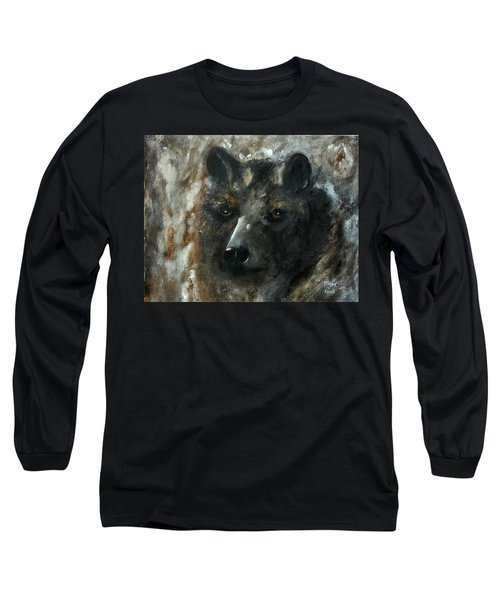 Long Sleeve T-Shirt featuring the painting Bjomolf - Bear Wolf by Barbie Batson
