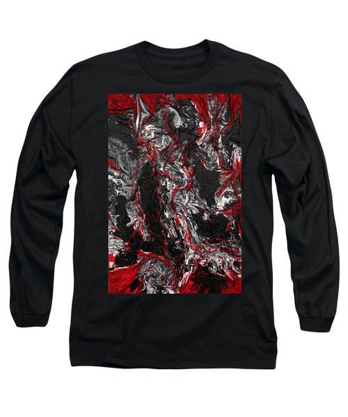 Black And White And Red All Over Long Sleeve T-Shirt