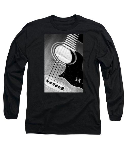 Black And White Harmony Guitar Long Sleeve T-Shirt by Athena Mckinzie