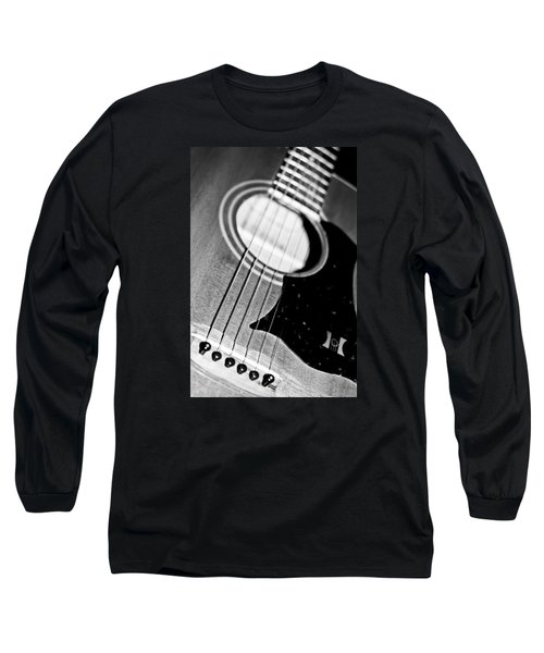 Black And White Harmony Guitar Long Sleeve T-Shirt