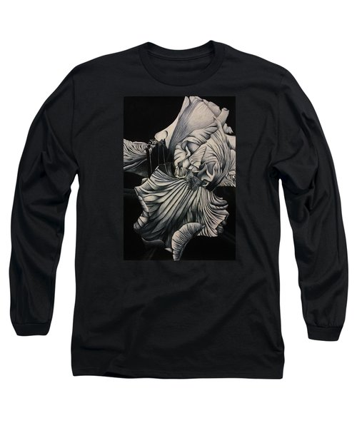 Black And White Iris Study Long Sleeve T-Shirt by Bruce Bley