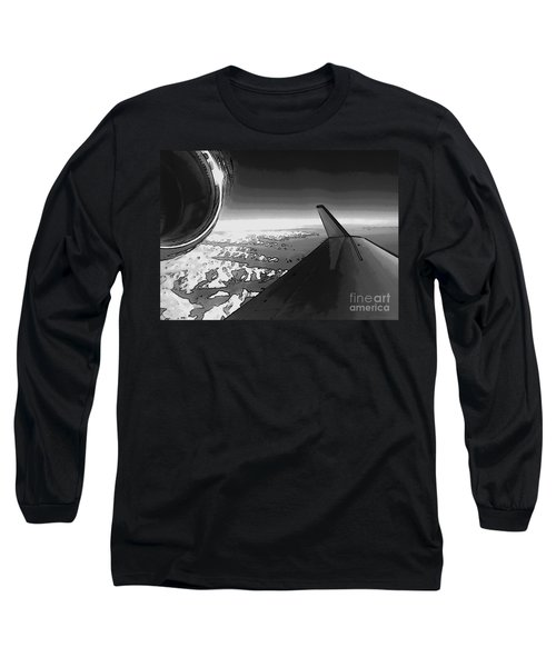 Long Sleeve T-Shirt featuring the photograph Jet Pop Art Plane Black And White  by R Muirhead Art
