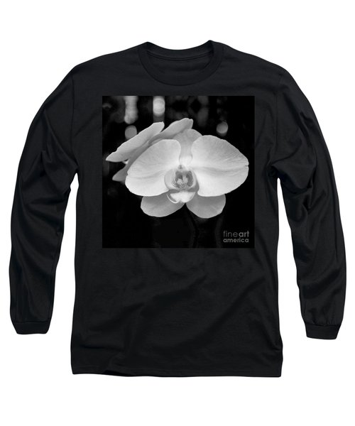 Black And White Orchid With Lights - Square Long Sleeve T-Shirt