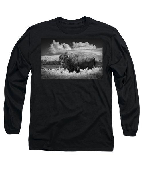 Black And White Photograph Of An American Buffalo Long Sleeve T-Shirt