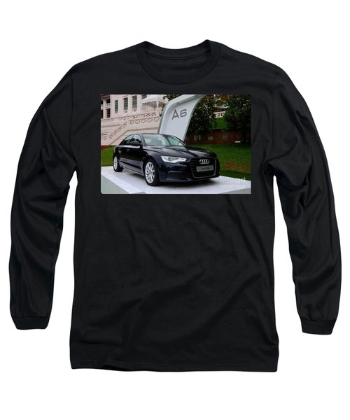 Black Audi A6 Classic Saloon Car Long Sleeve T-Shirt by Imran Ahmed