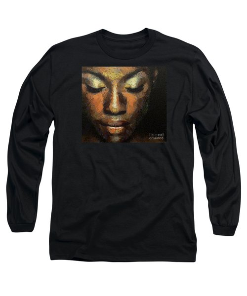 Long Sleeve T-Shirt featuring the painting Black Beauty by Dragica  Micki Fortuna
