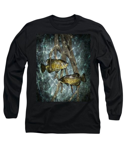 Black Crappies A Fish Image No 0143 Blue Version Long Sleeve T-Shirt
