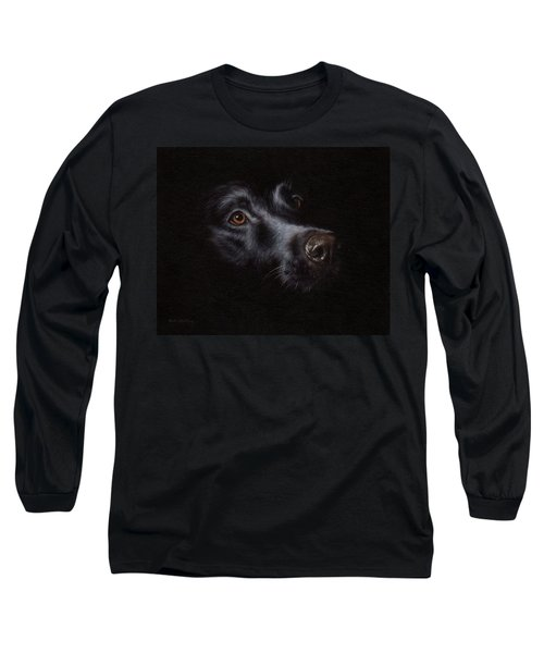 Black Labrador Painting Long Sleeve T-Shirt