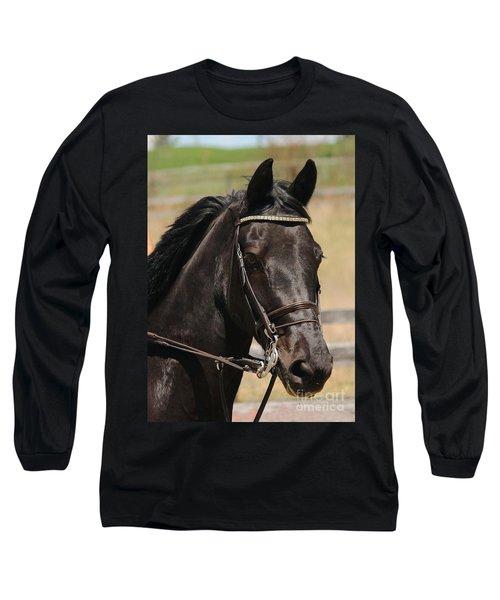 Black Mare Portrait Long Sleeve T-Shirt