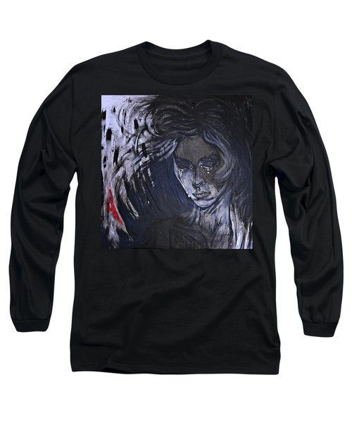 black portrait 16 Juliette Long Sleeve T-Shirt by Sandro Ramani
