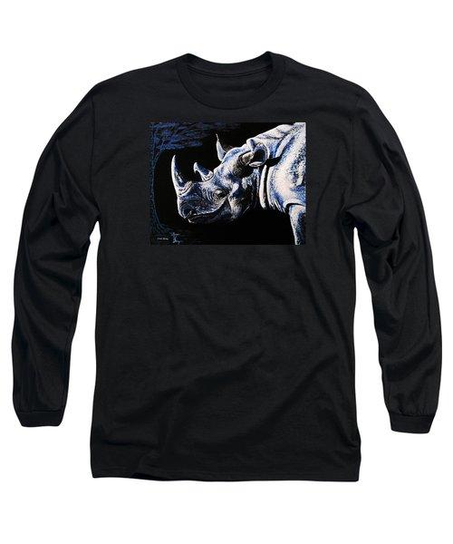 Black Rino Long Sleeve T-Shirt by Viktor Lazarev