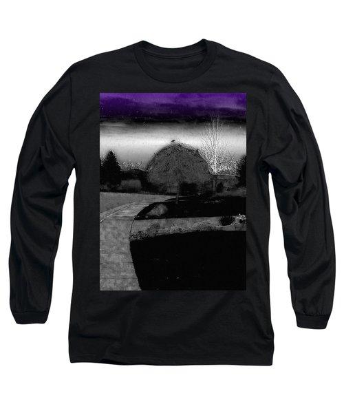 Blackbird In Tree Under Purple Night Sky Long Sleeve T-Shirt