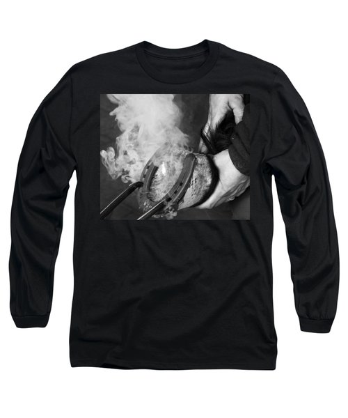 Blacksmith With Horseshoe - Traditional Craft Long Sleeve T-Shirt by Matthias Hauser