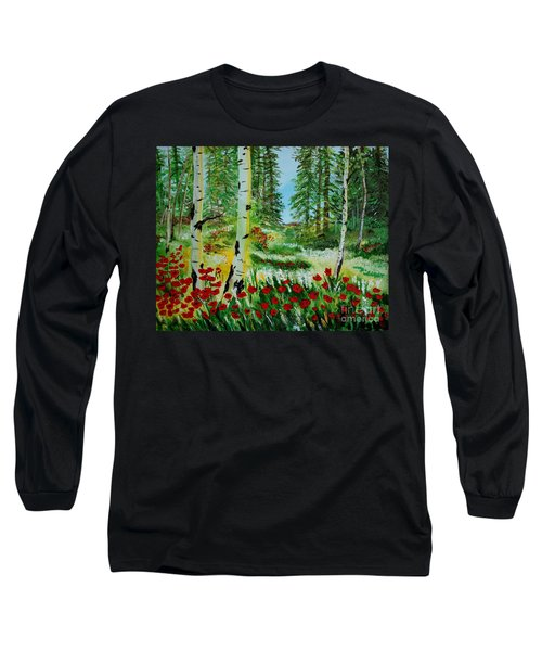 Long Sleeve T-Shirt featuring the painting Bliss by Leslie Allen