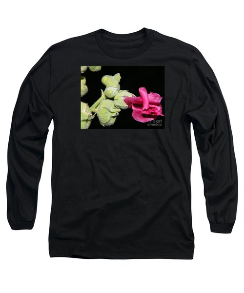 Long Sleeve T-Shirt featuring the photograph Blooming Pink Hollyhock by Ann E Robson