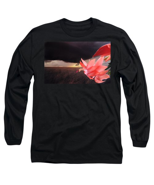 Long Sleeve T-Shirt featuring the photograph Blooms Against Tornado by Katie Wing Vigil
