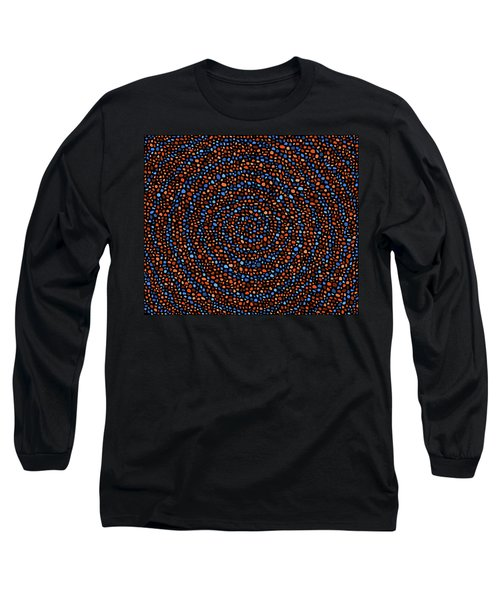 Long Sleeve T-Shirt featuring the digital art Blue And Orange Circles by Janice Dunbar