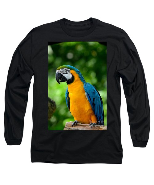 Blue And Yellow Gold Macaw Parrot Long Sleeve T-Shirt