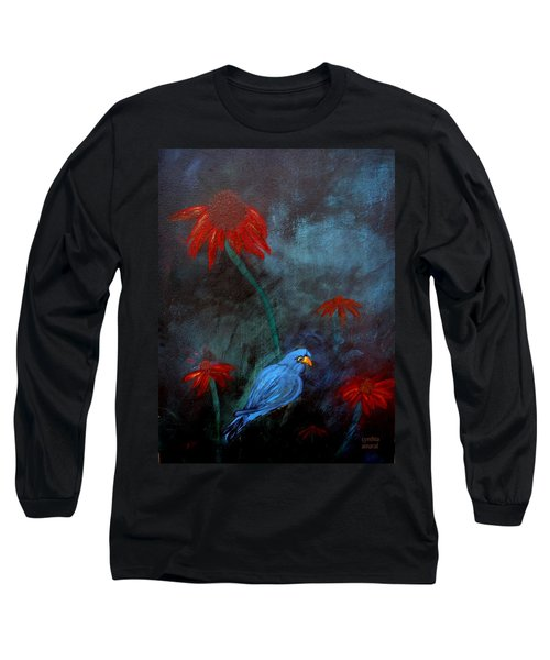 Long Sleeve T-Shirt featuring the painting Blue Bird by Cynthia Amaral