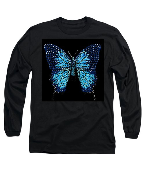 Blue Butterfly Black Background Long Sleeve T-Shirt
