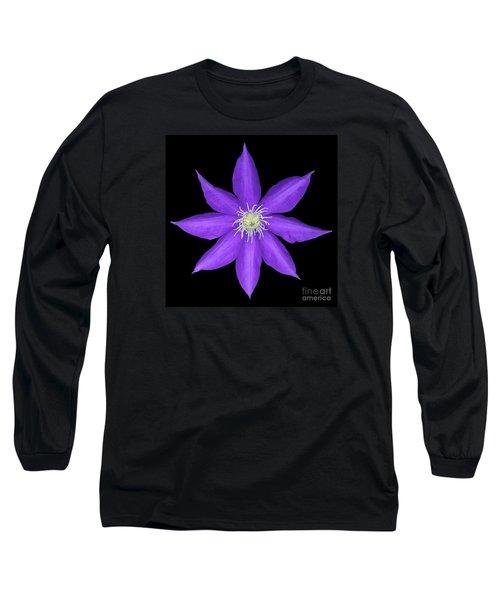 Blue Clematis Long Sleeve T-Shirt