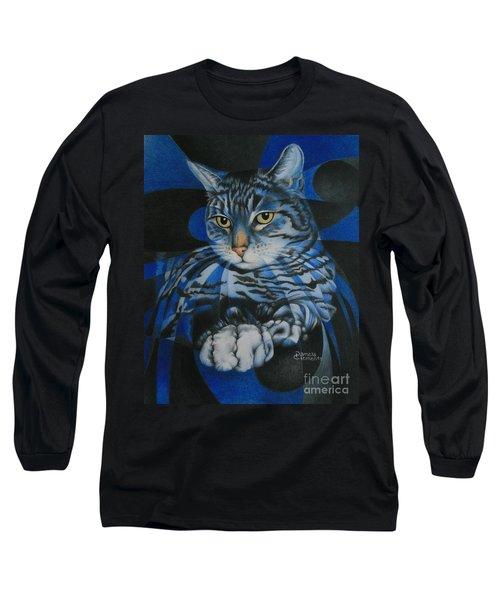 Blue Feline Geometry Long Sleeve T-Shirt