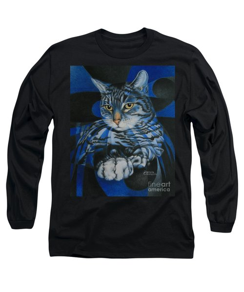 Blue Feline Geometry Long Sleeve T-Shirt
