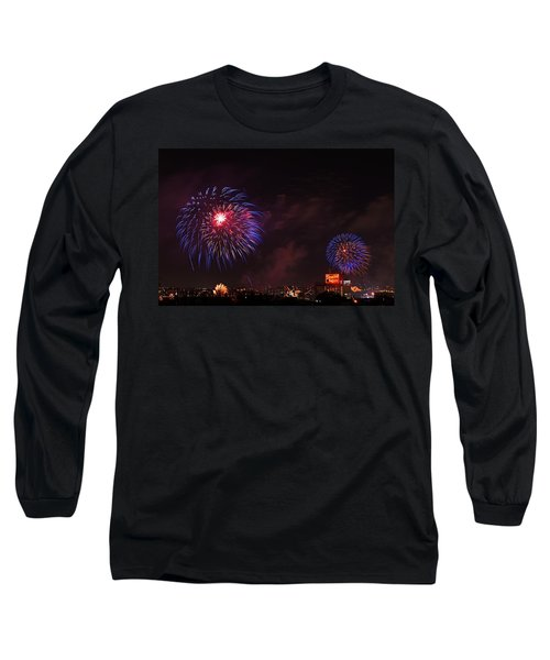 Blue Fireworks Over Domino Sugar Long Sleeve T-Shirt