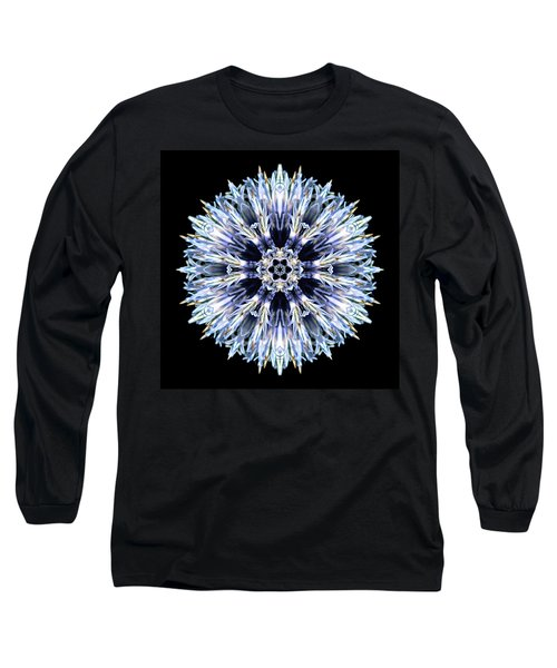 Long Sleeve T-Shirt featuring the photograph Blue Globe Thistle Flower Mandala by David J Bookbinder