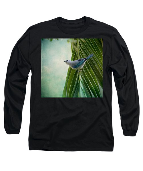 Blue Grey Tanager On A Palm Tree Long Sleeve T-Shirt by Peggy Collins
