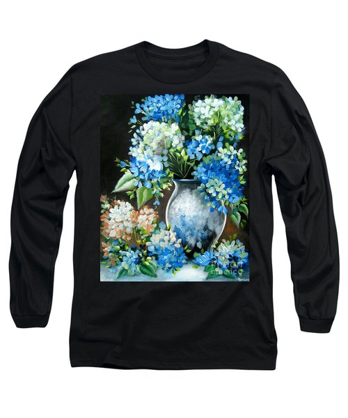 Long Sleeve T-Shirt featuring the painting Blue Hydrangeas by Patrice Torrillo