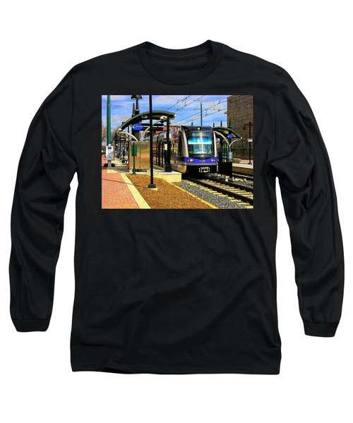 Long Sleeve T-Shirt featuring the photograph Blue Line by Rodney Lee Williams