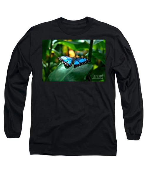 Blue Lit Butterfly Long Sleeve T-Shirt