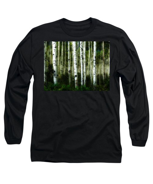 Long Sleeve T-Shirt featuring the photograph Blue Mood Aspens I by Lanita Williams
