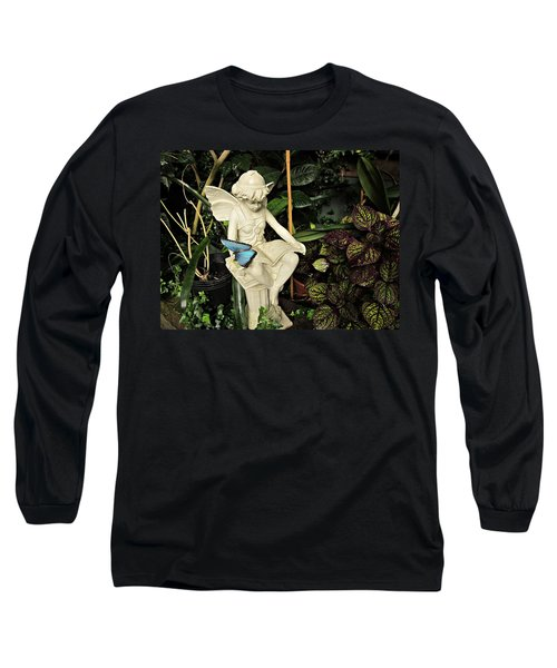 Blue Morpho On Statue Long Sleeve T-Shirt by MTBobbins Photography
