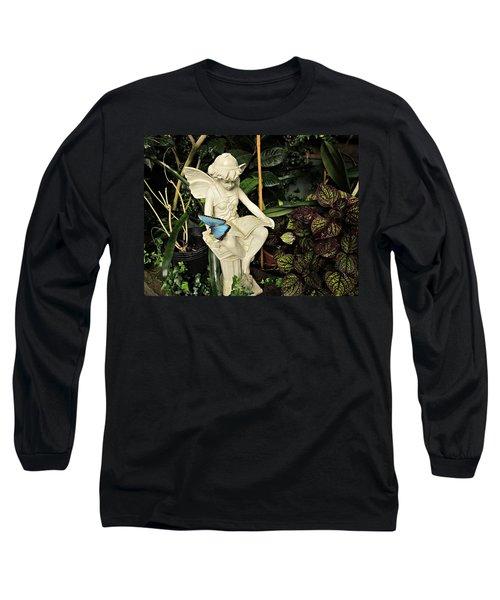 Blue Morpho On Statue Long Sleeve T-Shirt
