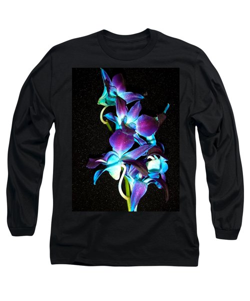 Blue Orchids Long Sleeve T-Shirt by Stephanie Moore