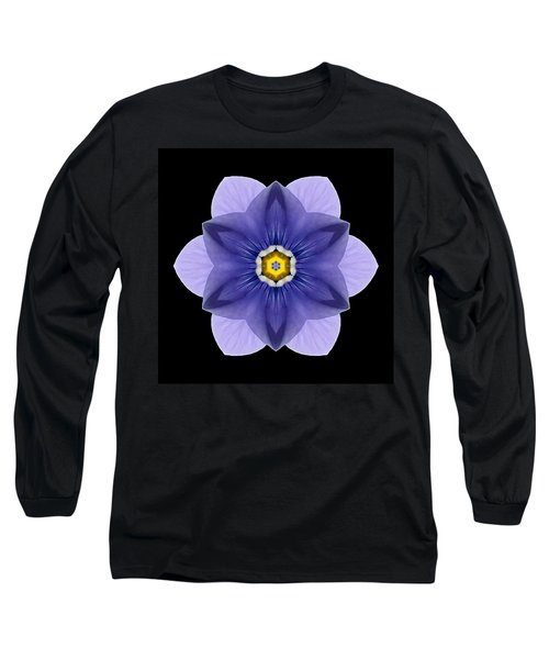 Blue Pansy I Flower Mandala Long Sleeve T-Shirt