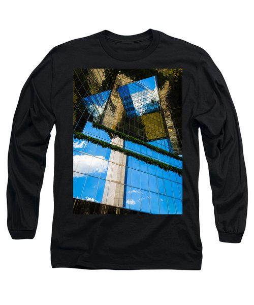 Long Sleeve T-Shirt featuring the photograph Blue Sky Reflections On A London Skyscraper by Peta Thames